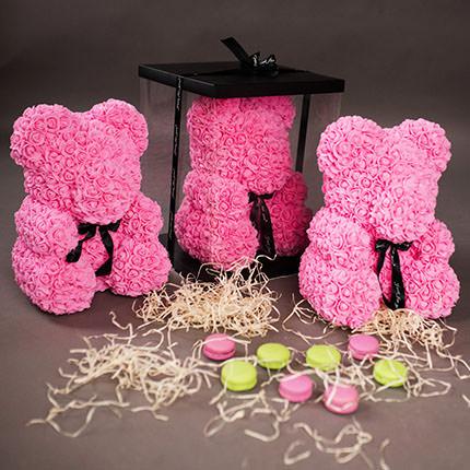 Мишка из роз (розовый) - заказать с доставкой