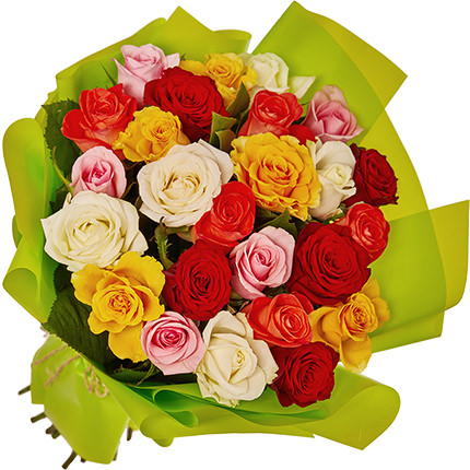 "Bouquet ""25 multicolored roses"" - delivery in Ukraine"