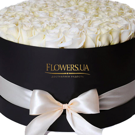 "Flowers in a box ""101 white roses"" - delivery in Ukraine"