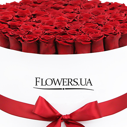 "Flowers in a white box ""101 red roses"" - delivery in Ukraine"