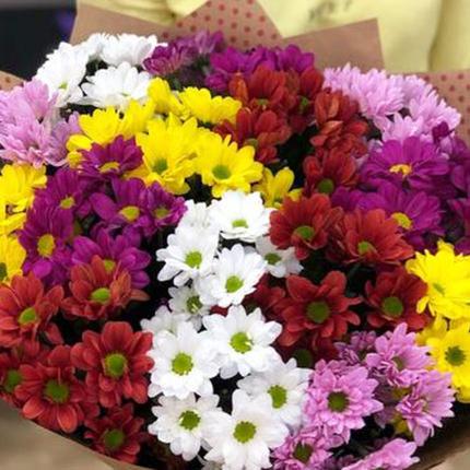 15 разноцветных хризантем - доставка по Украине