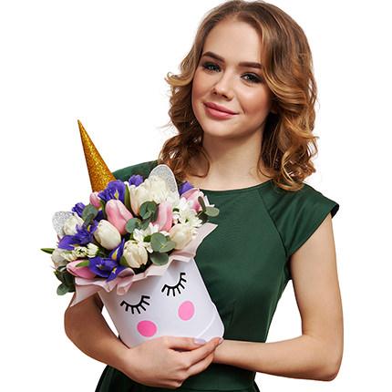 """Весенние цветы в коробке """"Единорог!"""" - доставка по Украине"""
