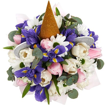 """Весенние цветы в коробке """"Единорог!"""" - заказать с доставкой"""