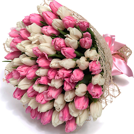 """Букет """"51 білий і рожевий тюльпан"""" - замовити з доставкою"""