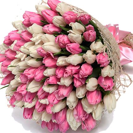 """Букет """"101 белый и розовый тюльпан"""" - доставка по Украине"""