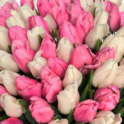 """Букет """"101 белый и розовый тюльпан"""" - заказать с доставкой"""