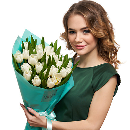 "Bouquet ""25 white tulips"" - delivery in Ukraine"