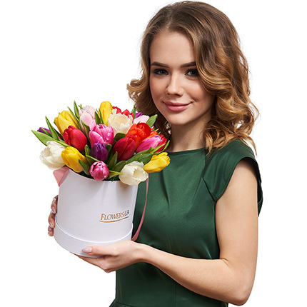 "Flowers in the box ""25 colorful tulips"" - delivery in Ukraine"