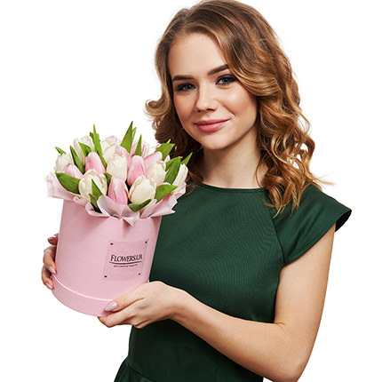 "Flowers in a box ""25 white and pink tulip"" - delivery in Ukraine"