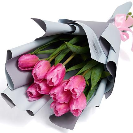 """Букет """"9 рожевих тюльпанів"""" - замовити з доставкою"""