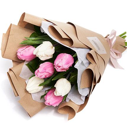 """Букет """"7 белых и розовых тюльпанов"""" - заказать с доставкой"""