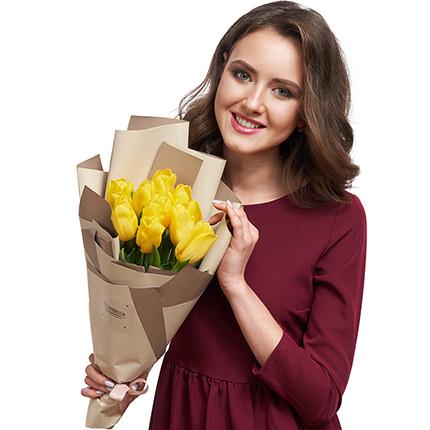 """Букет """"9 желтых тюльпанов"""" - доставка по Украине"""