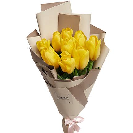 """Букет """"9 желтых тюльпанов"""" - заказать с доставкой"""