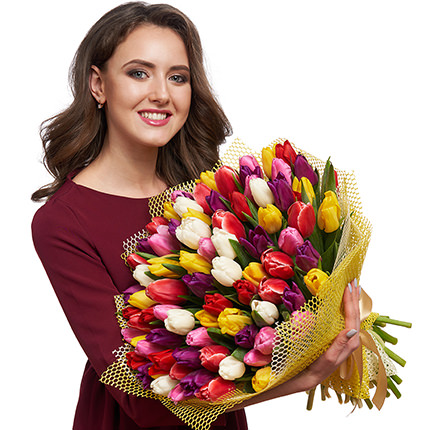 "Bouquet ""51 multicolored tulips!"" - delivery in Ukraine"