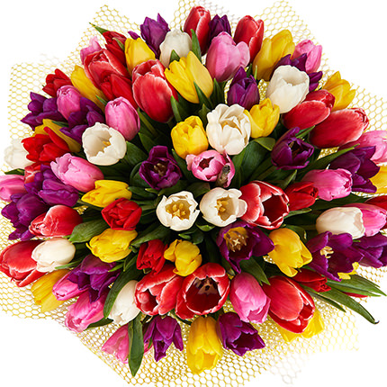 """Bouquet """"51 multicolored tulips!"""" - order with delivery"""