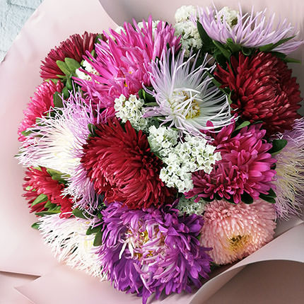 15 colorful asters - order with delivery