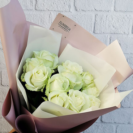 """Авторський букет """"11 білих троянд"""" - замовити з доставкою"""