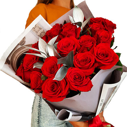 "Silver collection ""25 red roses"" - delivery in Ukraine"