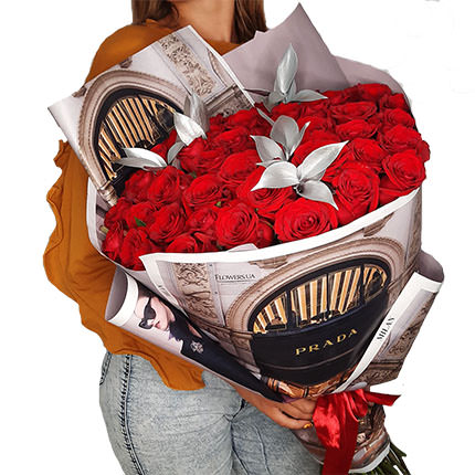 """Silver collection """"51 red roses"""" - delivery in Ukraine"""