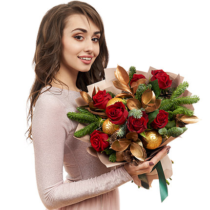 """Bouquet with garland """"New Year's magic"""" - delivery in Ukraine"""