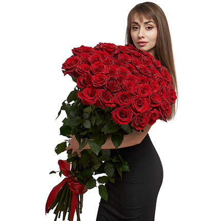 51 red roses one meter high - delivery in Ukraine