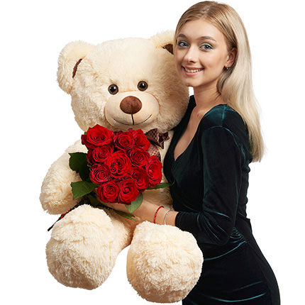 Гигантский мишка и 11 красных роз - доставка по Украине