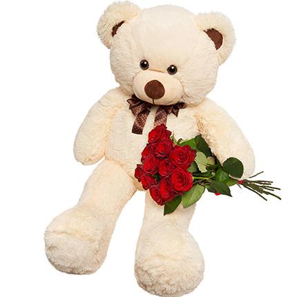 Гигантский мишка и 11 красных роз - заказать с доставкой