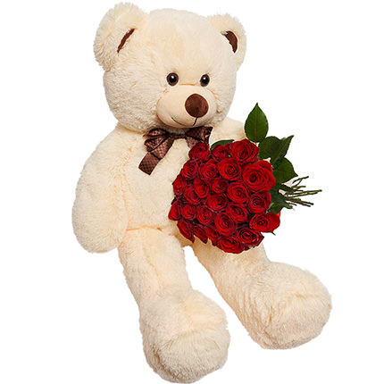 Giant beige bear and 25 red roses - order with delivery