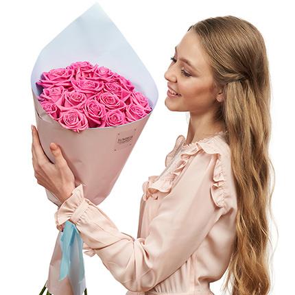 """Букет """"15 рожевих троянд"""" - замовити з доставкою"""
