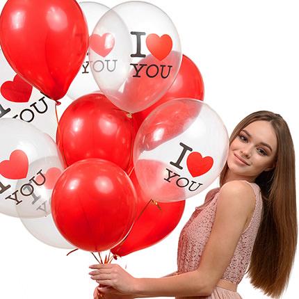 """Коллекция шариков """"Люблю"""" - 9 шариков - заказать с доставкой"""