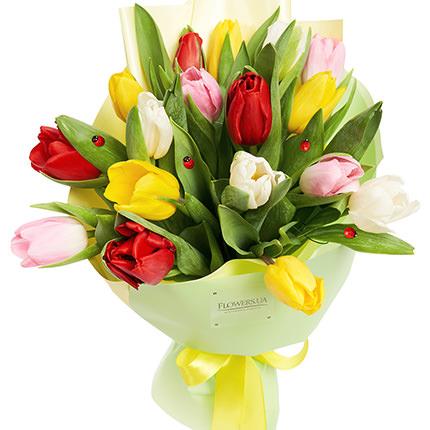 """Букет """"17 різнокольорових тюльпанів"""" - замовити з доставкою"""
