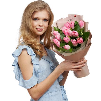 """Букет """"15 розовых тюльпанов"""" - доставка по Украине"""
