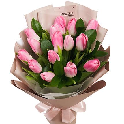 """Букет """"15 розовых тюльпанов"""" - заказать с доставкой"""
