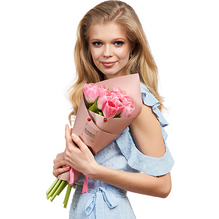 """Spring bouquet """"9 pink tulips"""" - delivery in Ukraine"""
