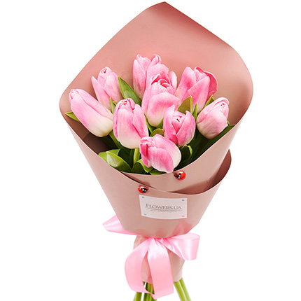 """Spring bouquet """"9 pink tulips"""" - order with delivery"""