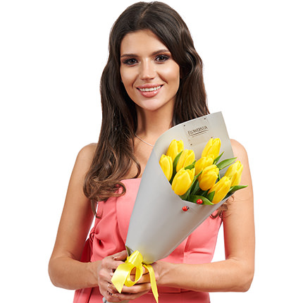 """Spring bouquet """"9 yellow tulips"""" - delivery in Ukraine"""