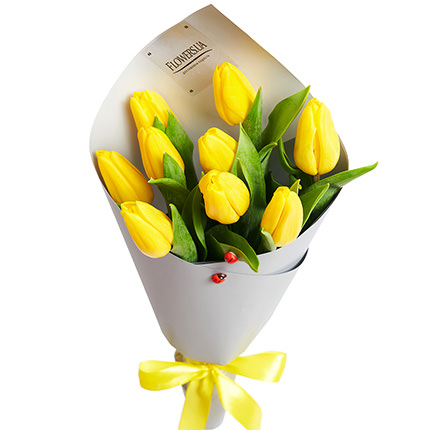 """Spring bouquet """"9 yellow tulips"""" - order with delivery"""