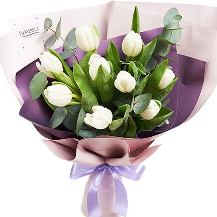 """Букет """"9 белых тюльпанов"""" - заказать с доставкой"""