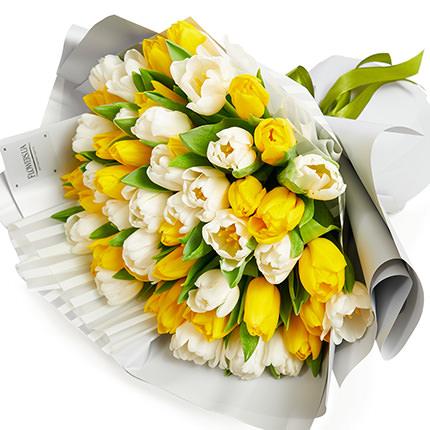51 белый и желтый тюльпан - заказать с доставкой