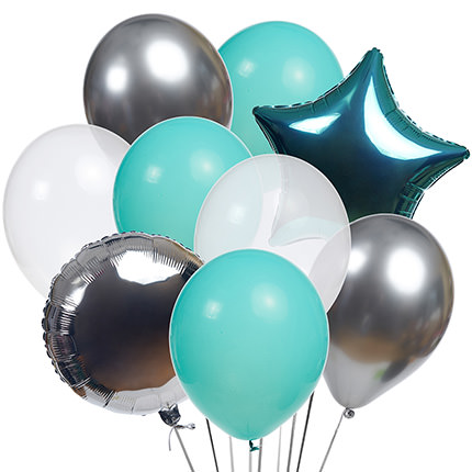 """Collection of balls """"Turquoise"""" - 9 balloons - delivery in Ukraine"""