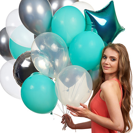 """Collection of balls """"Turquoise"""" - 9 balloons - order with delivery"""