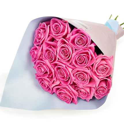 """Bouquet """"15 pink roses"""" + Raffaello - order with delivery"""
