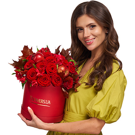 """Flowers in a box """"Flame of love"""" - delivery in Ukraine"""