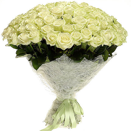 75 white roses - delivery in Ukraine