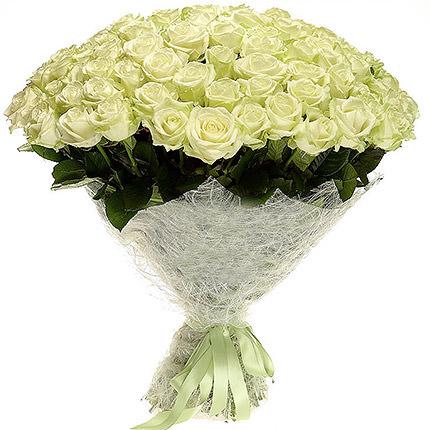 75 білих троянд - доставка по Україні