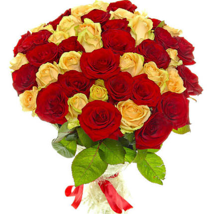 51 red and creamy roses - delivery in Ukraine