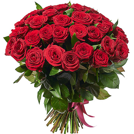51 red roses with teddy bear - delivery in Ukraine