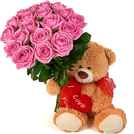 Bear with a bouquet - delivery in Ukraine