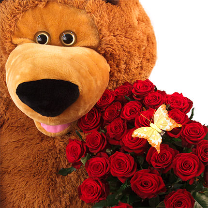 Giant teddy bear with roses - delivery in Ukraine