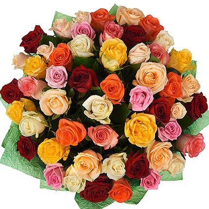 51 різнокольорова троянда - доставка по Україні